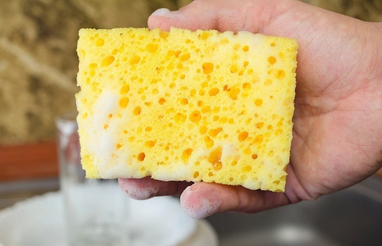 cleaning kitchen sponge with vinegar